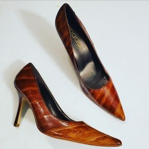 Moda Spana Brown Variegated Leather Pointy Pumps